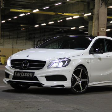 Grille insert stainless steel with Carlsson front spoiler A-Class W176 AMG-Line
